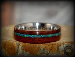 wooden metal rings images Bentwood rosewood wood ring peacock opal inlay stainless steel JPG