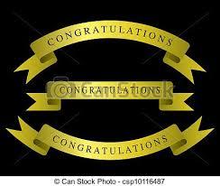 black and gold ribbon gold ribbon congratulations gold ribbon isolated on black