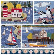 Beach Scene Area Rugs by Hand Hooked Rugs Hand Hooked Area Rugs Claire Murray