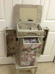 Distressed Jewelry Armoire Floral Repurposed Jewelry Armoire Custom Made To Order