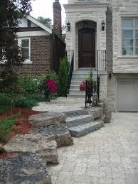 interlocking tumbled stone driveway and flagstone steps drive
