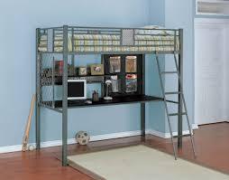 bedroom metal bunk bed with desk underneath medium plywood wall