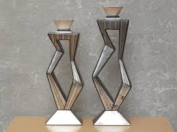 pair contemporary large metallic ceramic candle holders by artmax