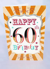 jumbo happy 60th birthday card words him her male brown 3d effect