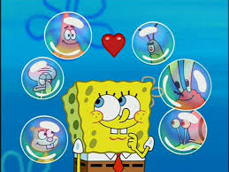 image spongebob u0026 6 bubbles with the following characters