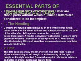 parts of a business letter basic and optional parts of a business