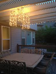 Patio Christmas Lights by Outdoor Chandeliers Made From Chicken Wire And Christmas Lights