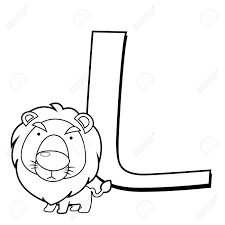 coloring alphabet for kids l with lion royalty free cliparts