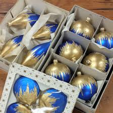 14 mercury glass ornaments made in germany royal blue