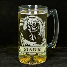 beer glass svg personalized grizzly bear beer mug engraved glass present for