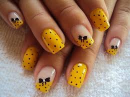 inspiring cute and easy nail art designs with small polkadot decor