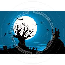 halloween haunted house and evil graveyard tree by benchart toon