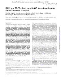 PDF RMI1 and TOP3α limit meiotic CO formation through their C