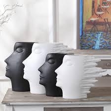 sculpture vase black white ceramic crafts of creative modern