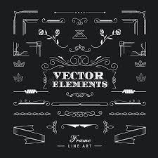 Art Deco Design Elements Set Of Vintage Retro Linear Thin Line Art Deco Design Elements G