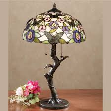 take flight butterfly floral stained glass table lamp