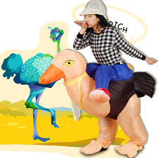 Ostrich Halloween Costume Holiday Funny Inflatable Walking Ostrich Costume Rex