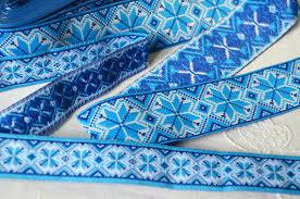 ribbon trim jacquard ribbon trim blue white embroidery trim ukrainian