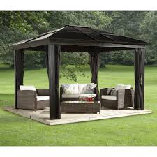 Patio Gazebo by Outdoor Hard Top Metal Gazebo Hardtop Roof Bbq All Tamingthesat