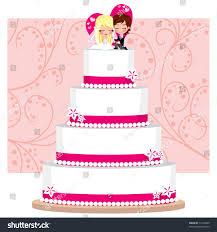 Strawberry Cream Wedding Cake Flowers Groom Stock Vector 71249449