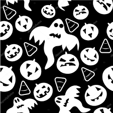 seamless halloween pattern with ghosts u2014 stock vector lillllia