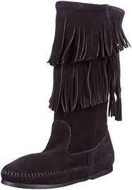 minnetonka womens boots size 11 amazon com minnetonka s calf hi 2 layer fringe boot mid calf