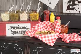 toppings bar baseball themed hot dog toppings bar atta girl says