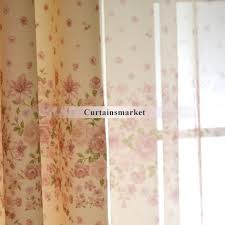 floral sheer curtains of linen and cotton blended fabrics