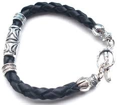 leather bracelet with sterling silver images Handmade sterling silver leather bracelet