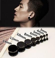 mens earring styles 1pcs new fashion stainless steel black barbell earring