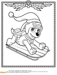 printable paw patrol christmas coloring pages santa and paw
