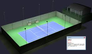 Outdoor Sports Lighting Fixtures Outdoor Tennis 1 Court Itf Class 1 Davis Cup Hurricane Led
