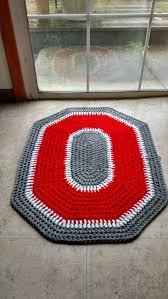 ohio state buckeyes crochet rug handmade block o throw rug