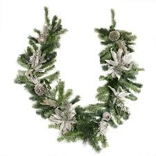 Pre Decorated Christmas Garland Northlight Pre Decorated Silver Poinsettia Pomegranate And Pine