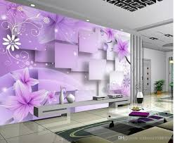 photo customize size 3d purple warm flowers tv wall mural 3d see larger image