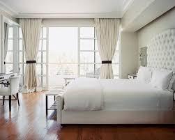headboard glass window cream color curtains large mirror white