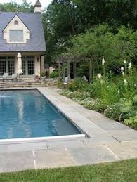 Classic Design Rectangular Pool In Grass Outdoor Spaces - Backyard landscape designs with pool
