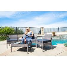4 Piece Wicker Patio Furniture Outdoor 4 Piece Wicker Chat Set With Cushions Patio Furniture