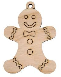 laser engraved gingerbread boy christmas tree ornament birch or