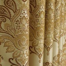 Jacquard Curtain Gold Polyester Jacquard Living Room Curtains