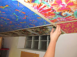 Ideas For Drop Ceilings In Basements Tutorial Cover Ugly Ceiling Tiles With Fabric Ceiling Tiles