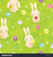 cute easter bunny seamless pattern green stock vector 102046606