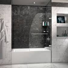 The Shower Door Review Aqua Uno 34 In Frameless Hinged Tub Door The Shower