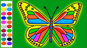 colours for kids learn how to colour and draw butterfly coloring