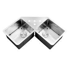 Ruvati RVH Undermount Corner Kitchen Sink  Gauge  Double - Corner undermount kitchen sink