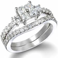princess cut wedding ring alyssa s antique style princess cut wedding ring set