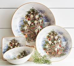 nostalgic tree 16 dinnerware set pottery barn