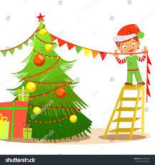 cute cartoon elf decorating christmas treevector stock vector
