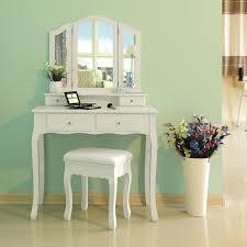 coiffeuse chambre pe coiffeuse de maquillage meuble de chambre blanc avec 3 miroirs