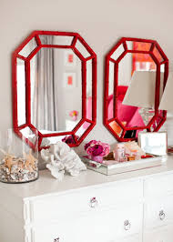 colorful home tour bamboo mirror coral and bedrooms